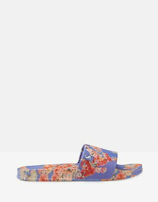 Joules Womens Poolside Pu Sliders in BLUE FLORAL Size Adult 4