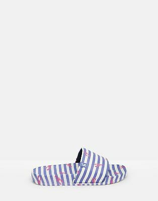 Joules Womens Poolside Pu Sliders in BLUE STRIPE Size Adult 8