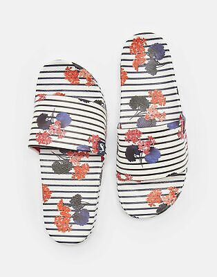 Joules Womens Poolside Printed Sliders in INKY NAVY LILYPADS Size Adult 8
