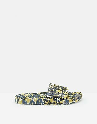 Joules Womens Poolside Printed Sliders in NAVY GOLD INKY LILYPADS Size Adult 4