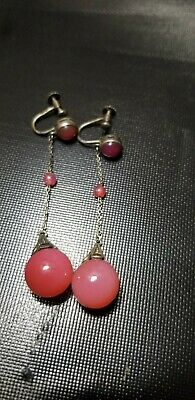 Antique Chinese Sterling Silver &, Pink Jade Dangle Earrings