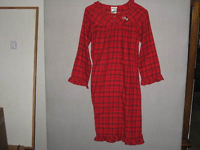 Disney Store Girls Red Plaid Dress/Nightgown Minnie Mouse Size Large