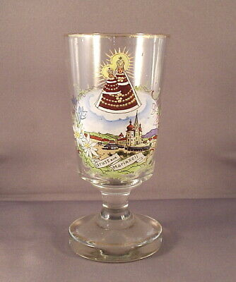 Antique Bohemian Austrian MARIAZELL VIRGIN MARY souvenir glass beaker or tumbler