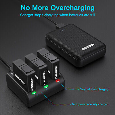 For GoPro Hero 5/6/7 Hero 2018 Camera 3-Channel Battery Charger with 3 Batteries