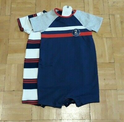 BNWT baby boys Navy Stripe Rompers 6-9-12 months NEXT