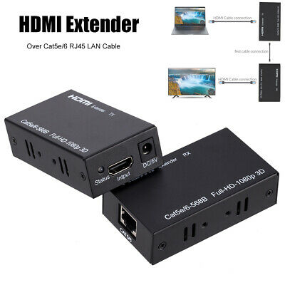 60M HDMI Extender Support Cat 5e/6 Transmitter and Receiver For PC TV Projector