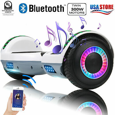 """6.5"""" Bluetooth Hoverboard Electric Self Balancing Scooter UL No Bag White-Gray"""
