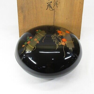 E250: Japanese old lacquer ware JIKIRO covered bowl with MAKIE of popular design