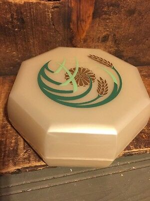 Vintage Merle Norman Cosmetic Plastic Powder Box Floral Wheat Design EMPTY