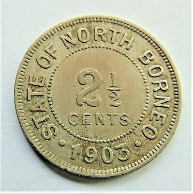 1903H BRITISH NORTH BORNEO Copper nickel 2+1/2 Cent grading VERY FINE.