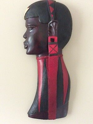 Hand Carved African Wooden Female Tribal Art Sculpture Head Black Brown Red