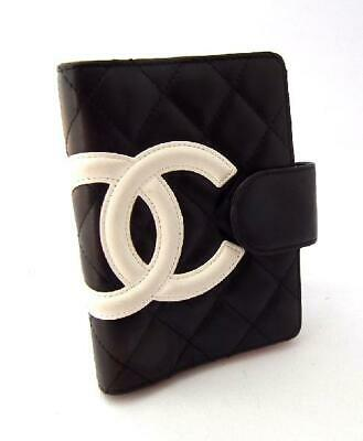 Authentic Chanel Cambon Line schedule planner Cover A26727 Black Leather diary