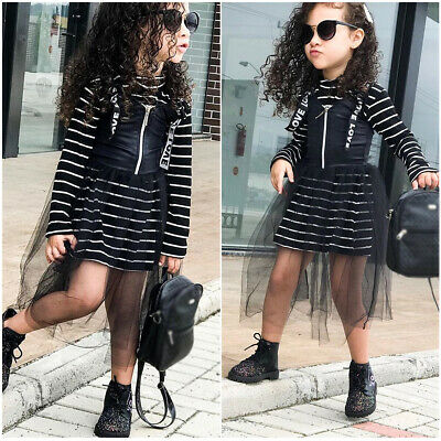 2PCS Kids Baby Girls Clothes Striped T-shirt Tops Suspender Tulle Dress Outfit