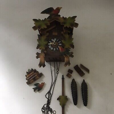 Vintage German Cuckoo Clock Wooden Hand Carved Black Forest Requires Some TLC
