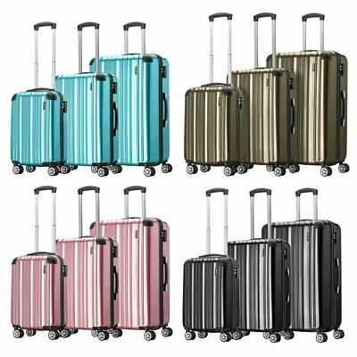 UK Cabin Hard Shell PC Travel Luggage Suitcase 4 Wheel Spinner Trolley Baggage