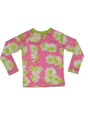 Big Girls Pink Darling Daisy Print Lined Trendy Zahra Rash Guard 7-16