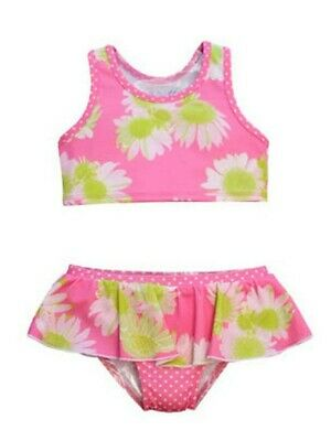 Little Girls Pink Lime Darling Daisy Karina 2 Pc Ruffle Skirt Swimsuit 2T-6X
