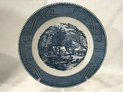 "ONE Royal China Blue CURRIER & IVES ""The Old Gristmill"" 10"" Dinner Plate"