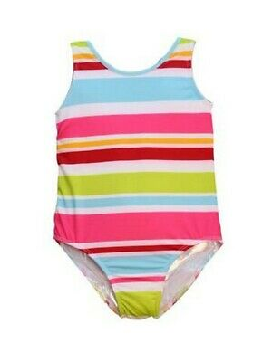 Big Girls Multi Color Aloha Stripe Print Jacen One Piece Bathing Suit 7-16