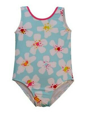 Little Girls Blue White Aloha Floral Print Jacen One Piece Bathing Suit 2T-6X