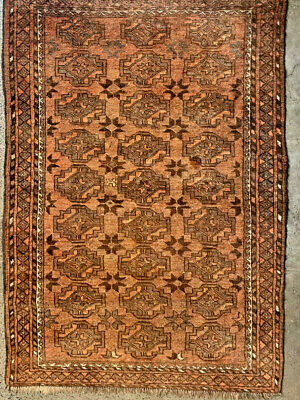 Antique Akhal Pattern All natural and Cochineal dye Turmenistan Tekke Carpet