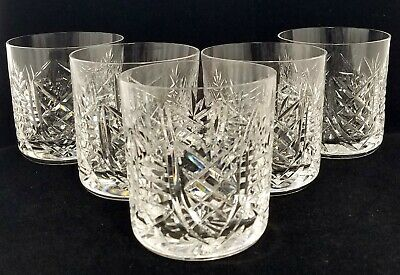 "(5) Waterford Crystal ""Clare"" Old Fashioned Glasses, 9 oz, 3 1/2"""