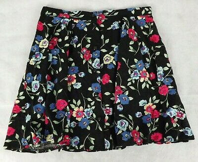 New Look Girls Size 12 Skirt Black Pink Blue Floral Full Short Button Front