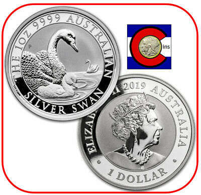 2019 Australia Silver Swan 1 oz Coin - BU direct from Perth Mint roll