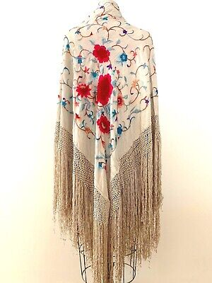 Antique Silk Large Piano Scarf Gorgeous Cream  Floral Embroidery Long Fringe