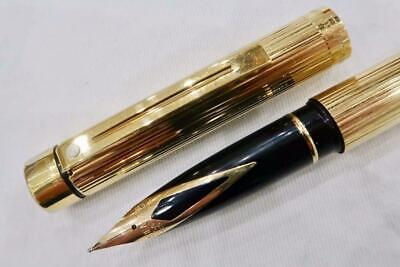 Sheaffer Targa 1005 23 Ct Gold Plate & Fluted, Fountain Pen With Ink Converter