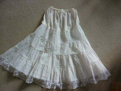 Vintage 1950'S Rockabilly Off White Paper Nylon Lace Trimmed Petticoat
