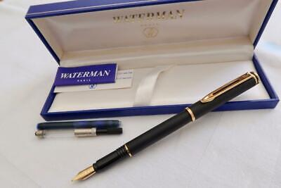New O/S Waterman Maestro Matt Black Fountain Pen, Boxed & Mint With Papers 1990