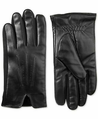 Isotoner Men's Black Leather Smartouch Touchscreen Classic Winter Gloves L - NEW