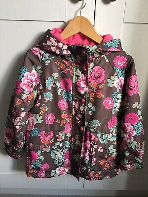 Joules Girls Jacket Coat 7 Years Brown Pink Blue Floral