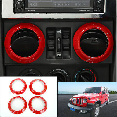 4x Red Inner Air Conditioning Vent Cover Ring Trim For Jeep Wrangler JK 2007-18