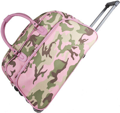 Pink Camo Camouflage Rolling Wheeled Duffle Bag Duffel Carry On Womens - USED