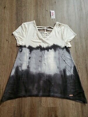 NWT Justice For Girls Shirt Size 10 gray black ivory lace v- neck NEW spring