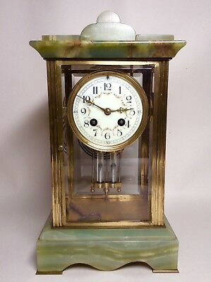 Late 19th Century French Green Onyx 4 Glass Striking Clock with Mercury Pendulum