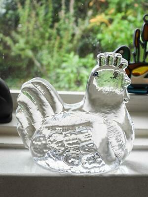 Art Glass Flat Back Sculpture of a Hen / Chook - Made in Sweden by Royal Krona