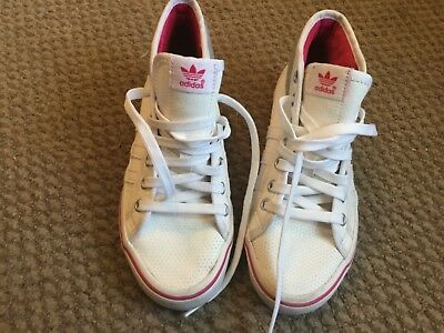 Adidas  Nizza Ladies  Or Girls White Hi Top Trainers Size 3
