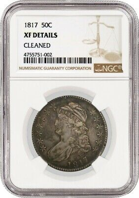 1817 50C Capped Bust Silver Half Dollar NGC XF Details Cleaned