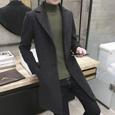Stylish Men's Wool Blend Jacket Trench Coat Single Breasted Overcoat Business