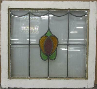 "MIDSIZE OLD ENGLISH LEADED STAINED GLASS WINDOW Nice Abstract Design 23"" x 21"""