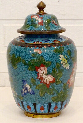 EXCEPTIONAL Antique 19thC CHINESE China CLOISONNE GINGER JAR & LID Tea Urn