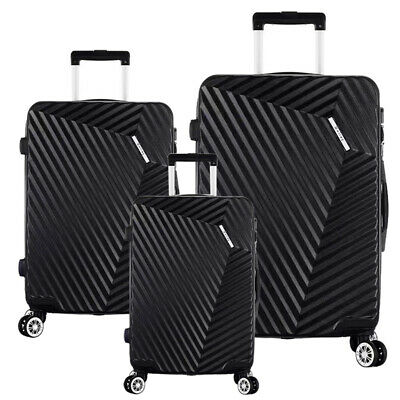 "Black Luggage Sets 3 Piece Travel Spinner Suitcase Lightweight ABS 20'' 24"" 28"""