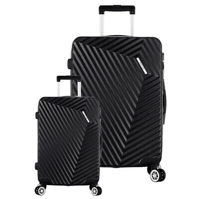 "Black Luggage Sets 3 Piece Travel Spinner Suitcase Lightweight ABS 20"" 28"""