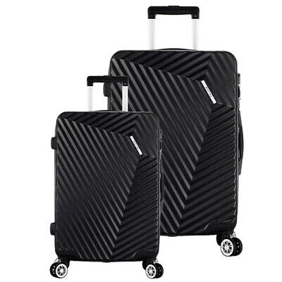 2 Sets Luggage Travel ABS Trolley 360° Spinner Carry On Suitcase with Lock Black