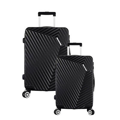 Luggage Travel 2 Sets ABS Trolley 360° Spinner Carry On Suitcase with Lock Black