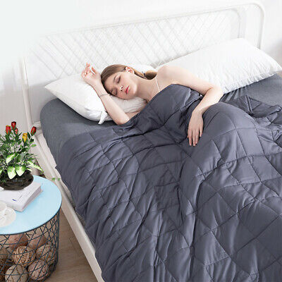 """60""""x80"""" Weighted Blanket Cover Full Queen Reduce Stress Promote Deep Sleep 20lb"""