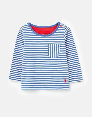 Joules  209357 Breton Top With Patch Pocket in BLUE FINE STRIPE